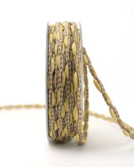 Bandkombination beige-braun-kariert, 7 mm - dekoband