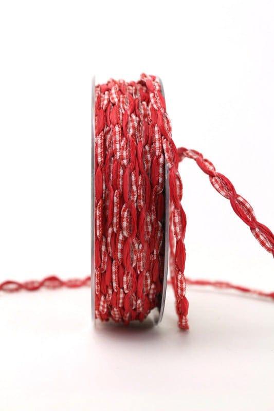 Bandkombination rot-rot-kariert, 7 mm - dekoband