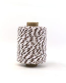 Zweifarbige Baumwollkordel braun-weiß, 2 mm - zierkordeln