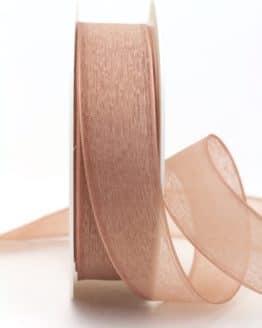 Leinen-Organzaband rehbraun, 25 mm - organzaband-einfarbig