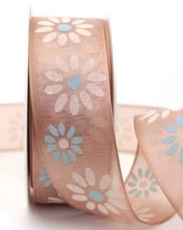 Organzaband mit Blüten, cappuccino, 40 mm mit Drahtkante - organzaband-mit-drahtkante, organzaband-gemustert, 20-rabatt