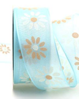 Organzaband mit Blüten, hellblau, 40 mm mit Drahtkante - organzaband-mit-drahtkante, organzaband-gemustert, 20-rabatt