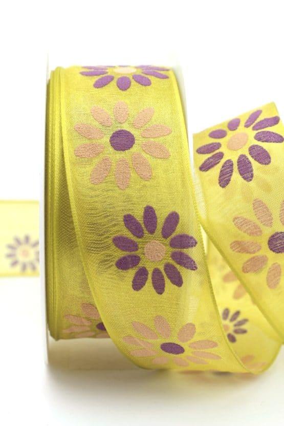 Organzaband mit Blüten, kiwigrün, 40 mm mit Drahtkante - organzaband-mit-drahtkante, organzaband-gemustert, 20-rabatt