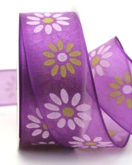 Organzaband mit Blüten, lila, 40 mm mit Drahtkante - organzaband-mit-drahtkante, organzaband-gemustert, 20-rabatt