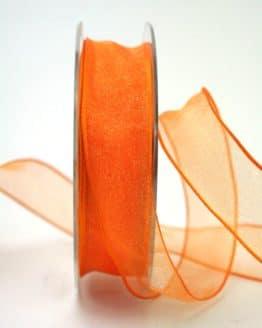 Organzaband orange, 25 mm, mit Drahtkante - organzaband-mit-drahtkante, organzaband-einfarbig