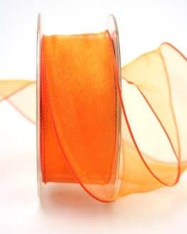 Organzaband orange, 40 mm, mit Drahtkante - organzaband-mit-drahtkante, organzaband-einfarbig, 50-rabatt