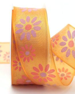 Organzaband mit Blüten, orange, 40 mm mit Drahtkante - organzaband-mit-drahtkante, organzaband-gemustert, 20-rabatt