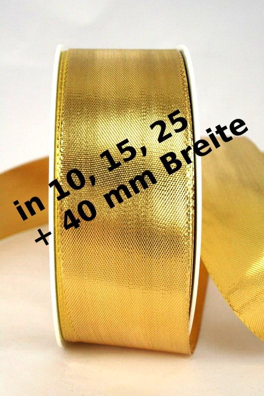 Lamé - Dekoband gold in 10, 15, 25 und 40 mm, ohne Drahtkante - weihnachtsband