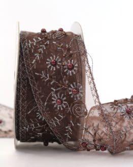 Exklusives Dekoband mit Perlen, braun, 50 mm - weihnachtsband, dekoband