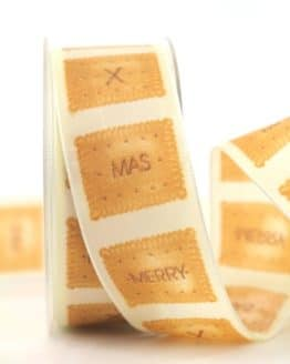 Dekoband X-mas-Keks, creme, 40 mm mit Draht - weihnachtsband