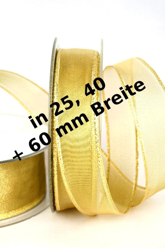 Transparentes Dekoband für Weihnachten, 25, 40 und 60 mm, gold - weihnachtsband