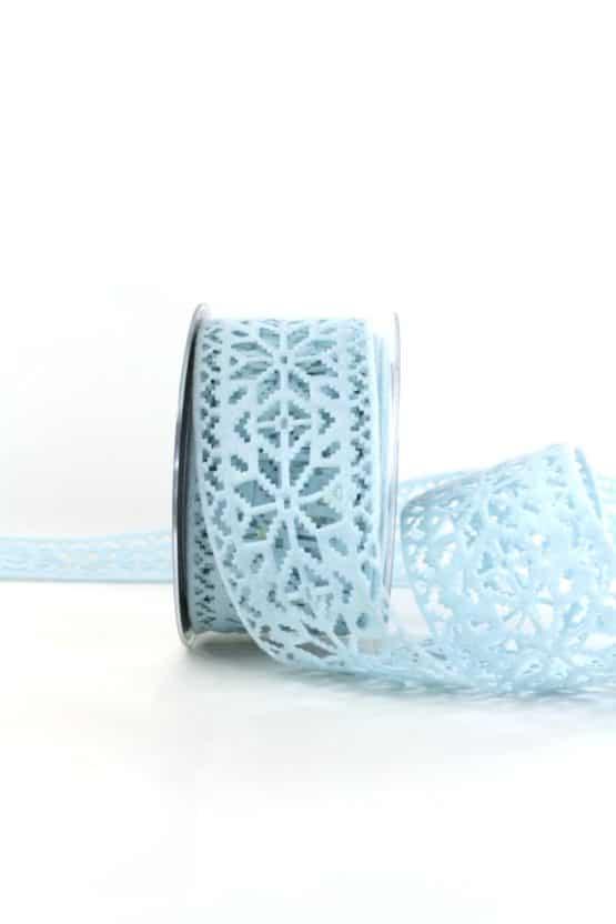 Dekoband aus Filz - Eiskristalle, hellblau, 60 mm breit - weihnachtsband, geschenkband-weihnachten-einfarbig, geschenkband-weihnachten