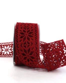 Dekoband aus Filz - Eiskristalle, dunkelrot, 60 mm breit - weihnachtsband, geschenkband-weihnachten-einfarbig, geschenkband-weihnachten