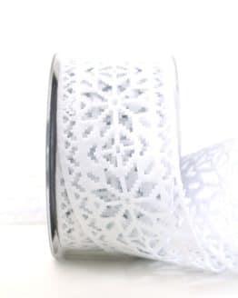 Dekoband aus Filz - Eiskristalle, weiß, 60 mm breit - weihnachtsband, geschenkband-weihnachten-einfarbig, geschenkband-weihnachten
