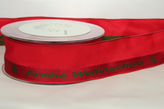 Dekoband 'Frohe Weihnachten', rot-grün, 40 mm breit - weihnachtsband