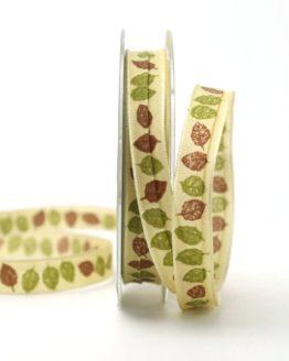 Dekoband mit Herbstlaub, grün-braun, 15 mm - dekoband-mit-drahtkante-dekoband