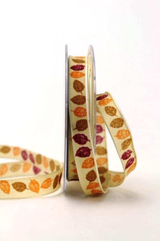 Dekoband mit Herbstlaub, orange-bordeaux, 15 mm - dekoband-mit-drahtkante-dekoband