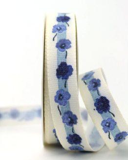 Leinenband mit Vergissmeinnicht-Blüten, blau, 25 mm - webkante, dekoband