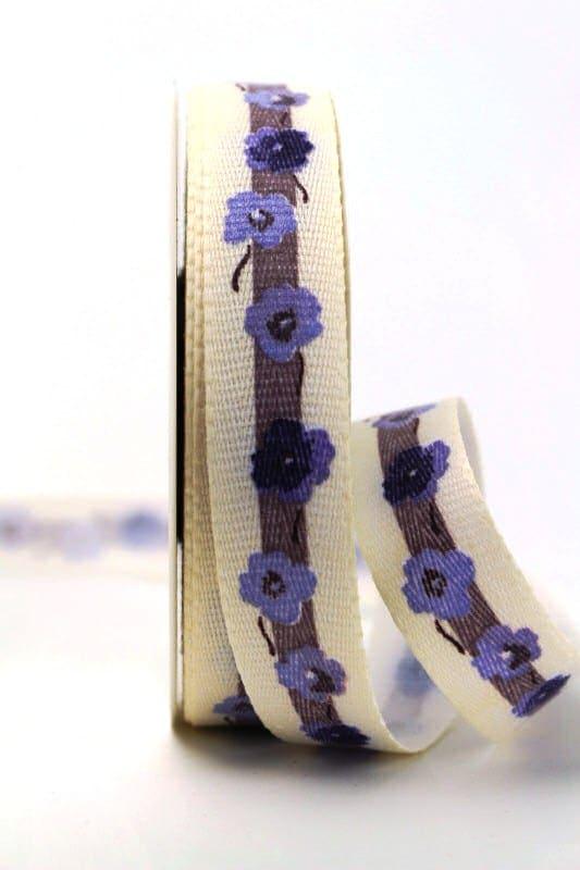 Leinenband mit Vergissmeinnicht-Blüten, flieder, 25 mm - webkante, dekoband