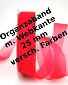 Organzaband 25 mm, mit Webkante - webkante-organzaband, organzaband