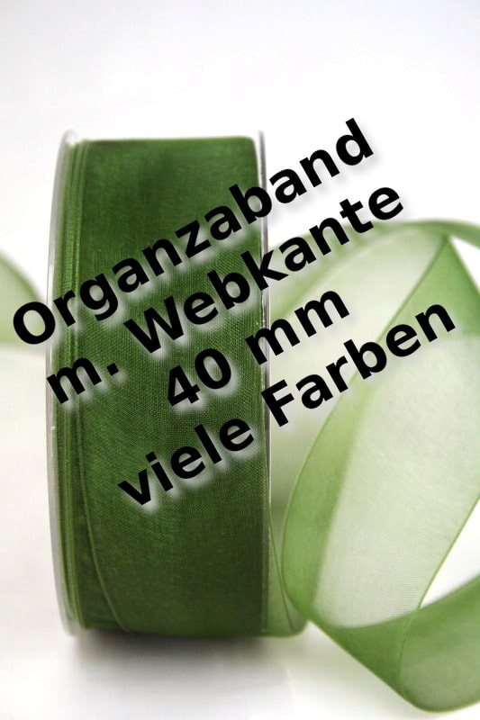 Organzaband 40 mm breit, mit Webkante - webkante-organzaband, organzaband