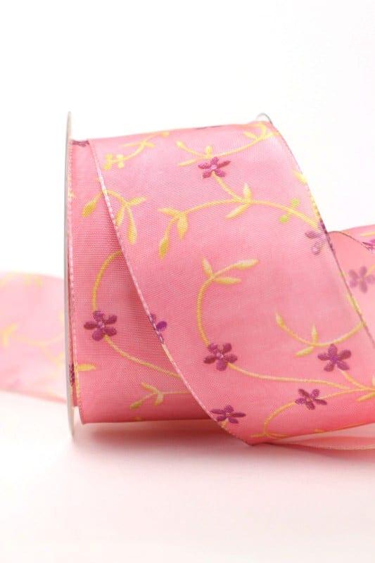Dekoband Ranke, rosa, 60 mm - dekoband-mit-drahtkante-dekoband
