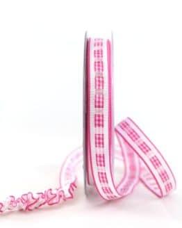 Dekoband Rips-/Satin, pink-weiß, 15 mm breit - geschenkband-gemustert, dekoband