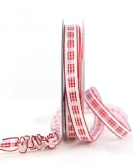 Dekoband Rips-/Satin, rot-weiß, 15 mm breit - geschenkband-gemustert, dekoband