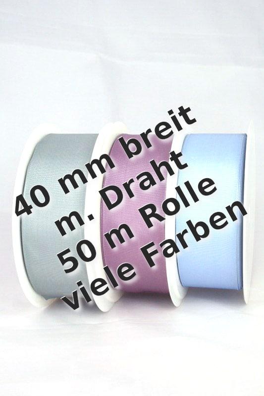 Taftband mit Drahtkante, 40 mm breit - taftband-mit-drahtkante