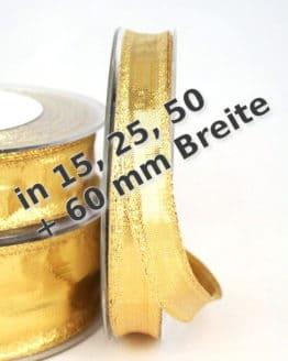Dekoband einfarbig Gold in 15, 25, 40 und 60 mm, mit Drahtkante - weihnachtsband