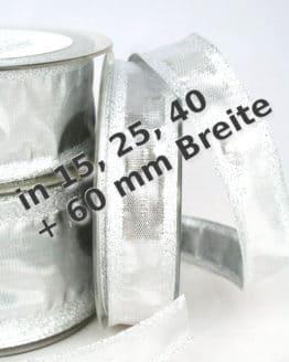 Dekoband Silber in 15, 25, 40 und 60 mm, mit Drahtkante - weihnachtsband