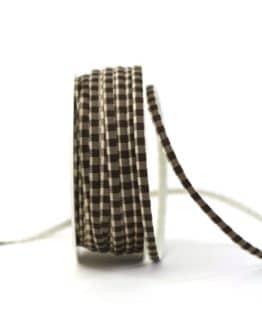 Dekoband kariert braun/weiss, 5 mm breit - dekoband