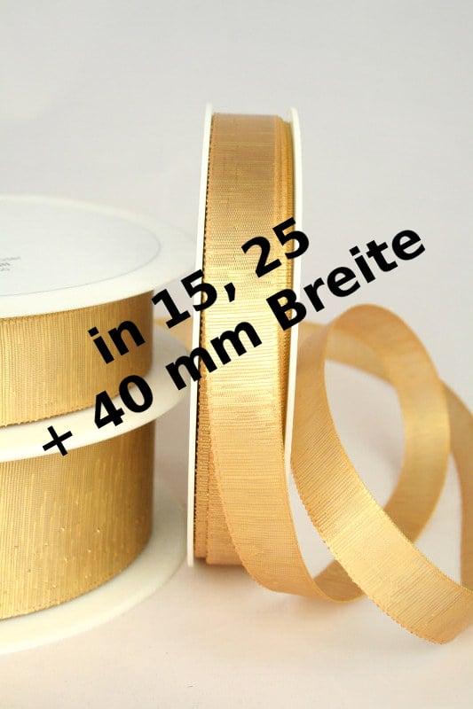Goldenes Dekoband in 15, 25 und 40 mm, ohne Drahtkante - weihnachtsband
