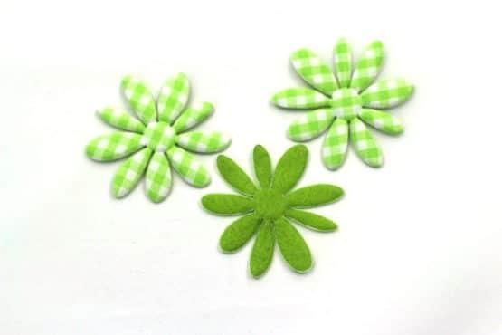 Dekoblüte grün-kariert, 52 mm, 20 Stück - accessoires