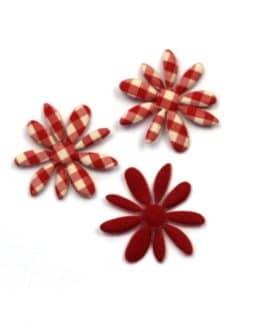 Dekoblüte rot-kariert, 32 mm, 20 Stück - accessoires