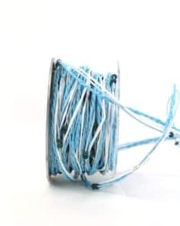 Dekokordel mit Perlen, blau-weiß, 4 mm breit - dekoband