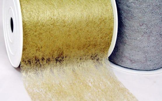 Deko-Vliesband gold + silber, 100 mm breit - weihnachtsband-vliesband, vliesband