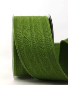 Filzband Strickmuster, dunkelgrün, 60 mm breit - dekoband