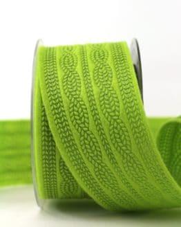 Filzband Strickmuster, hellgrün, 60 mm breit - dekoband