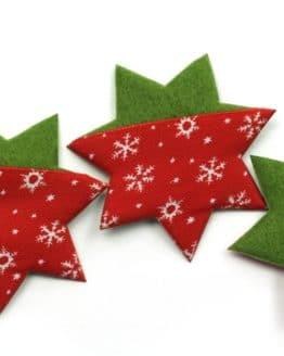 Filzstern aus Stoff u. Filz, rot-grün, 52 mm, 20 Stück - accessoires