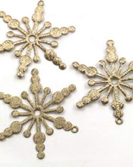 Geschenkanhänger Eiskristall, altgold, 52 mm, 20 Stück - geschenkanhaenger, accessoires