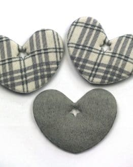 Geschenkanhänger Herz grau kariert, 52 mm, 20 Stück - geschenkanhaenger, accessoires
