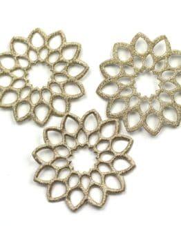 Geschenkanhänger Rosette, altgold, 52 mm, 20 Stück - geschenkanhaenger, accessoires