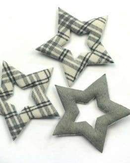 Geschenkanhänger Stern grau kariert, 52 mm, 20 Stück - geschenkanhaenger, accessoires