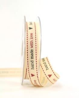 "Klassik-Geschenkband ""Handmade with Love"", 15 mm - vintage-baender, geschenkband-gemustert, dekoband"