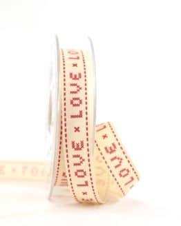 """Vintage-Geschenkband """"Love"""", 15 mm - vintage-baender, geschenkband-gemustert, dekoband"""