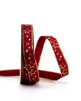 Geschenkband bordeaux / goldene Sterne, 15 mm breit - weihnachtsband, geschenkband-weihnachten-gemustert, geschenkband-weihnachten