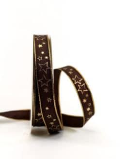 Geschenkband braun / goldene Sterne, 15 mm breit - weihnachtsband, geschenkband-weihnachten-gemustert, geschenkband-weihnachten