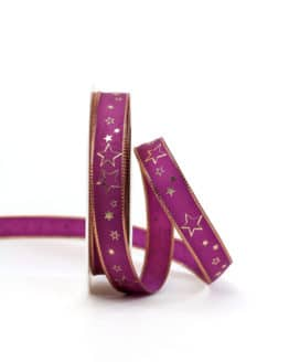 Geschenkband lila / goldene Sterne, 15 mm breit - weihnachtsband, geschenkband-weihnachten-gemustert, geschenkband-weihnachten