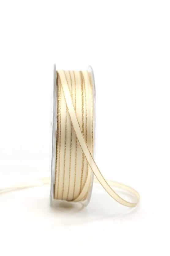 Satinband mit Goldkante, 6 mm breit, creme - weihnachtsband, satinband-m-goldkante-satinband, geschenkband-weihnachten-einfarbig, geschenkband-weihnachten